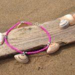 schelp enkelbandje pink